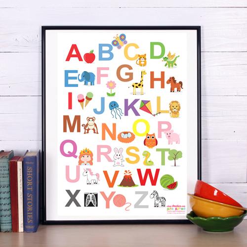 постер английский алфавит, english alphabet, постер купить