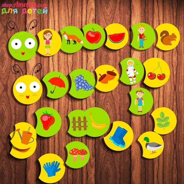 Развивающая игра «Гусеница» по методике Макото Шичиды: сочинялка, абсурдные истории, цепочка памяти (Linking memori) и др.