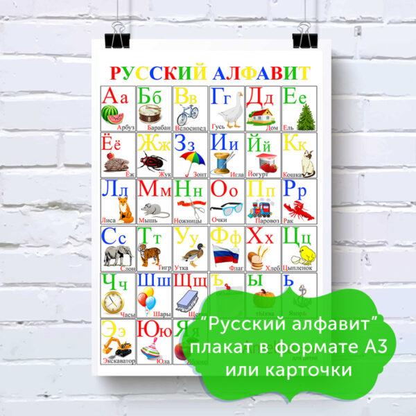 русский алфавит в картинках, плакат буквы русского алфавита