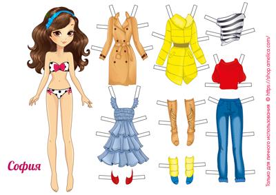 бумажные куклы с одеждой для вырезания, куклы для вырезания распечатать