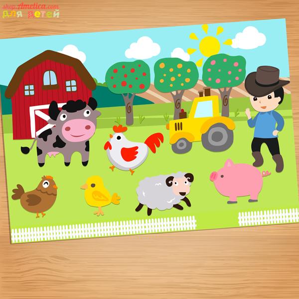 Аппликация на ферме, шаблоны аппликации для малышей