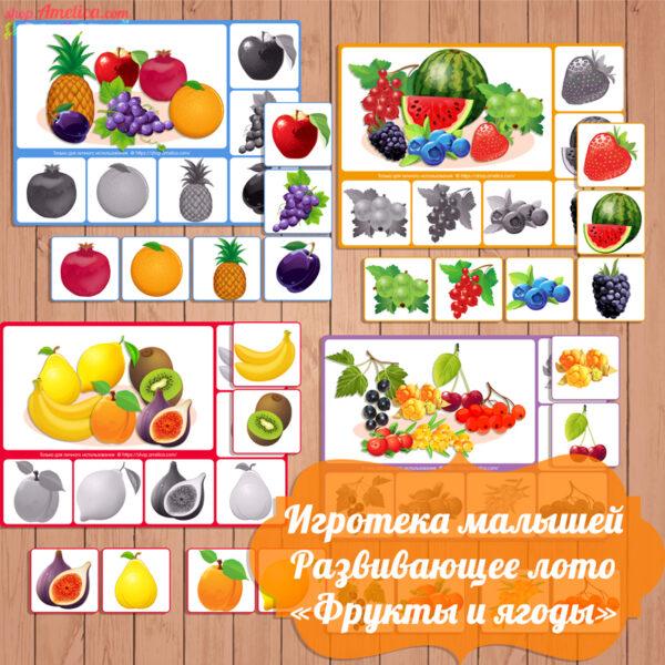 игра - лото скачать, развивающее лото, лото фрукты, лото ягоды