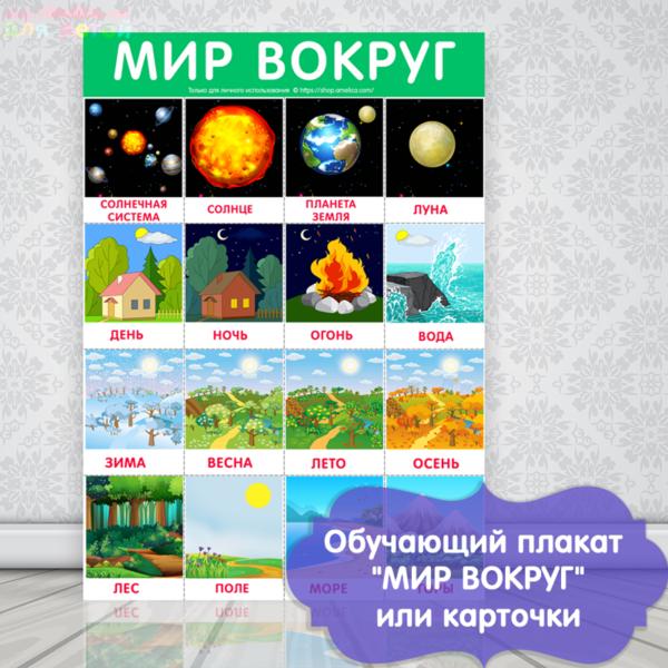 плакат мир вокруг для детей, окружающий мир картинки для детей