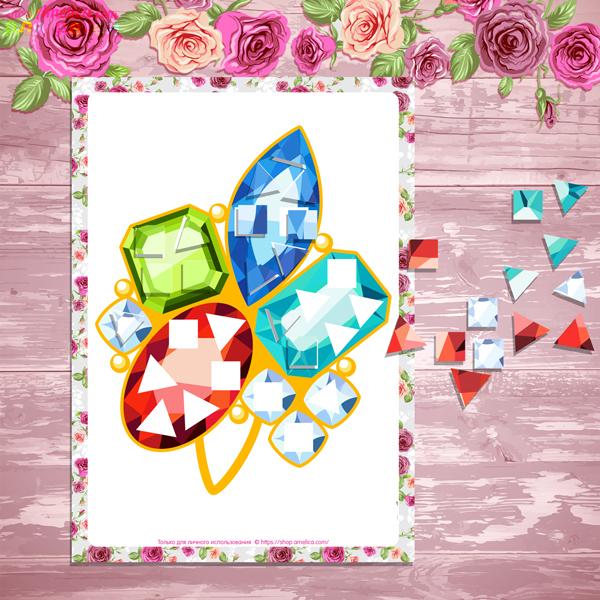 Геометрическая аппликация к 8 Марта, аппликация на 8 Марта, аппликация на 8 Марта в детский сад