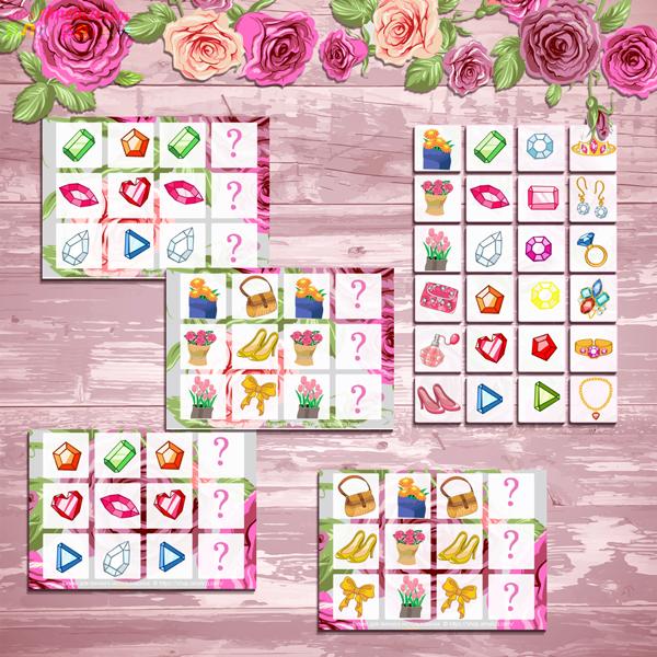 Логические цепочки к 8 Марта, игра логические цепочки, игра составь логическую цепочку