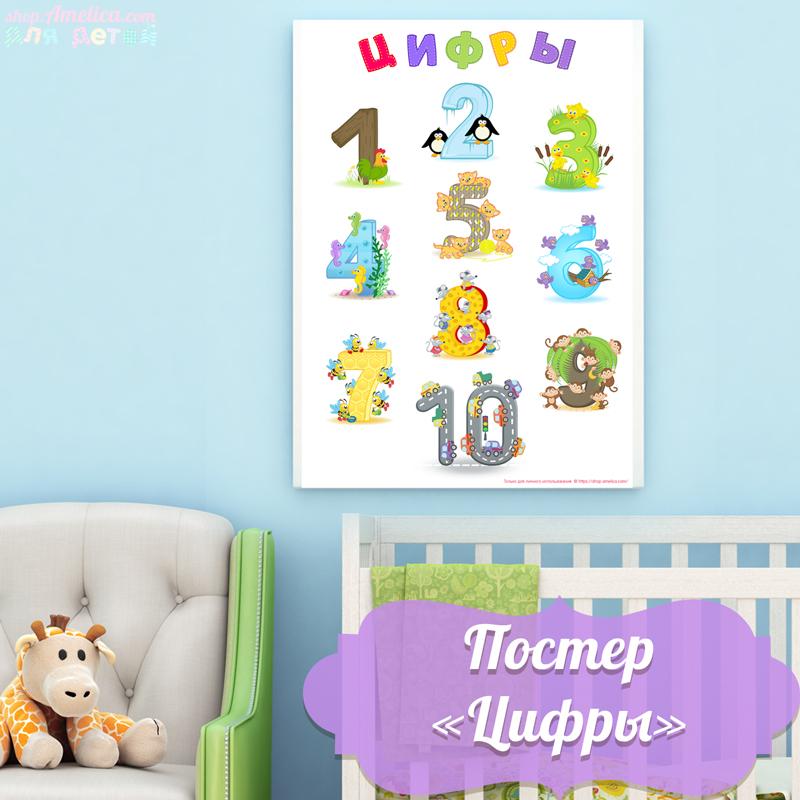 Постер цифры, постер для малышей, детский постер,