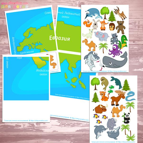 изучаем окружающий мир, изучаем животный мир материков