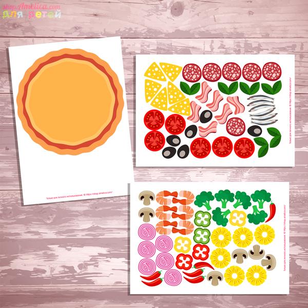 Шаблоны аппликации для детей, аппликация для малышей, аппликация пицца, аппликация для детского сада