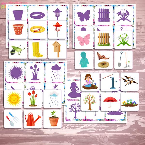 Весеннее теневое лото, весенние игры для детей, игры про весну для детей
