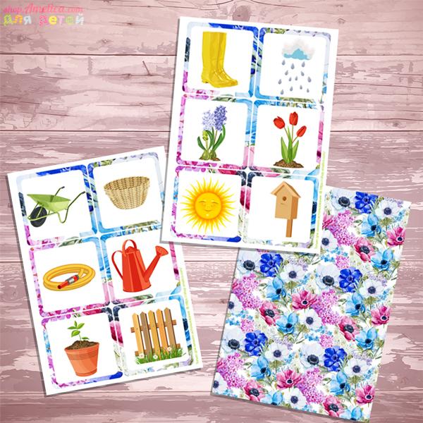 Весенние мемори распечатать, игра мемори для детей, карточки парочки распечатать