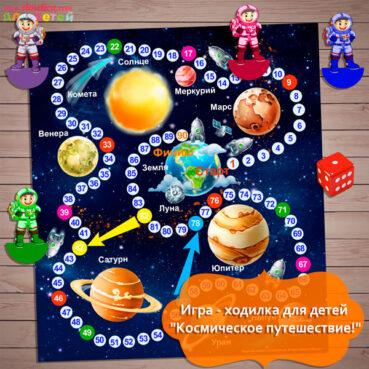 Игры ко Дню космонавтики, игры про космос распечатать, настольная игра - ходилка