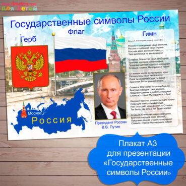День России для детей, плакат Государственные символы России