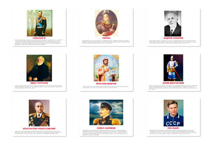 Великие люди России, карточки знаменитые люди России, Великие люди России карточки с описанием