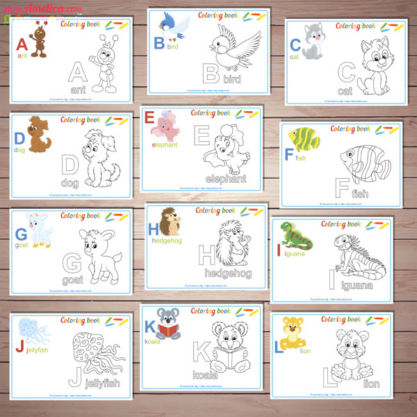 Alphabet coloring book, coloring book download, English alphabet