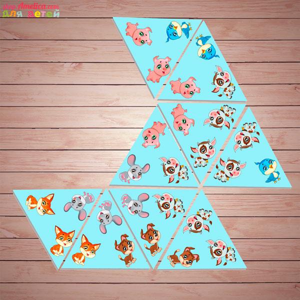Развивающая игра-головоломка «Необычное треугольное домино» скачать для печати