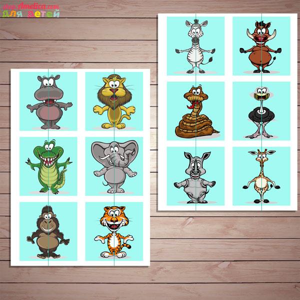 Настольные игры скачать для печати, развивающая игра «Веселый зоопарк»