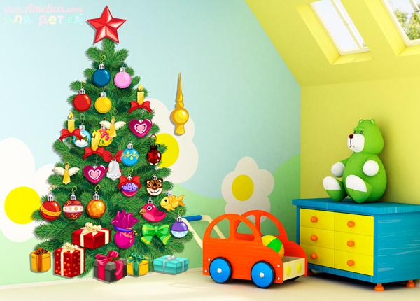 Дидактическая игра «Украшаем ёлочку» для дома или детского сада скачать для печати