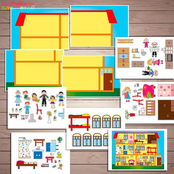 Дидактическая игра - аппликация «Составь дом» бесплатно скачать для печати