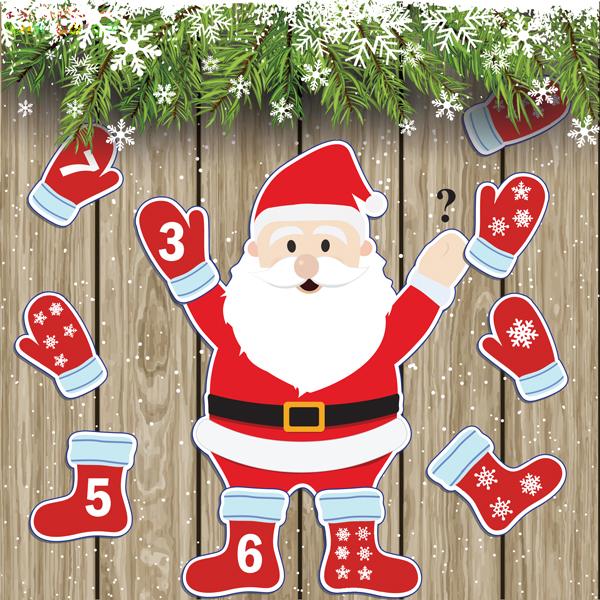 Новогодняя игра «Дед Мороз» для тренировки навыка счета от 1-20, упражнения с прищепками