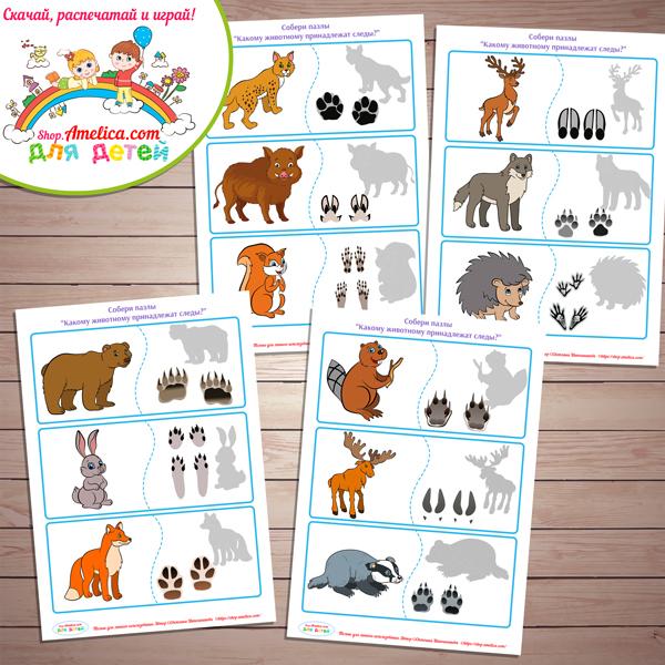 Дидактическая игра «Чьи следы?» - Животные леса скачать для распечатки