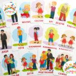 Развивающие карточки для развития речи и расширения словарного запаса малышей «Семья»
