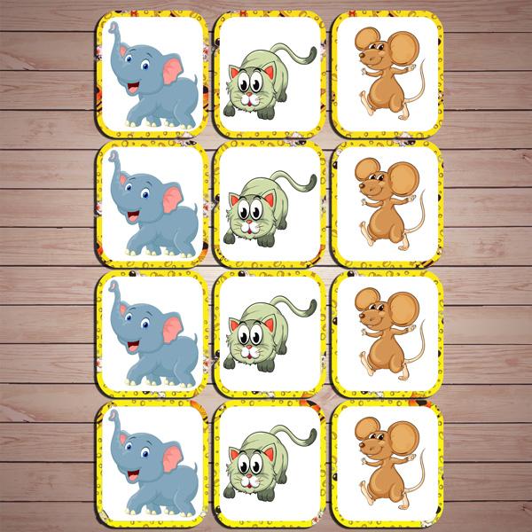 Развивающая игра «Слон-кот-мышь» скачать для печати