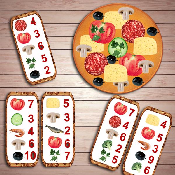 Развивающая игра «Математическая пицца» скачать для печати