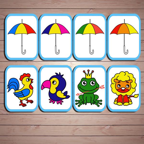 """Развивающая игра """"Чей зонтик?"""" скачать для печати"""