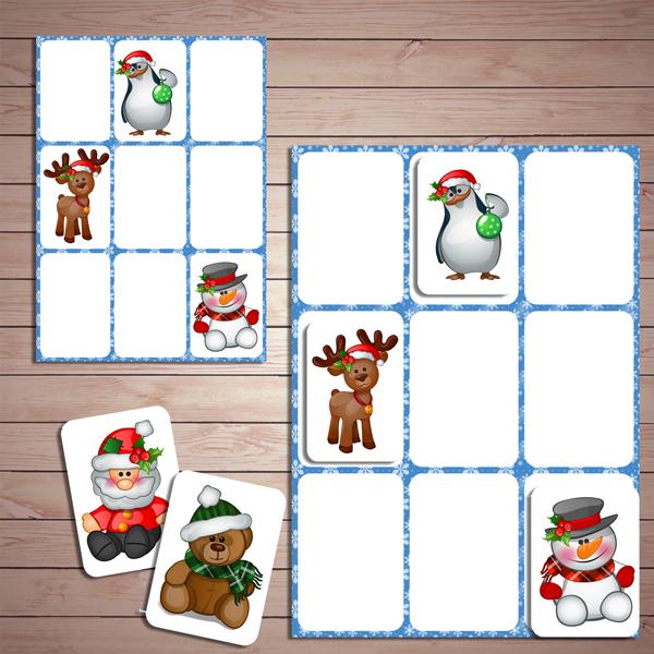 """Развивающая игра - """"Новогодняя сетка памяти"""" скачать для печати"""