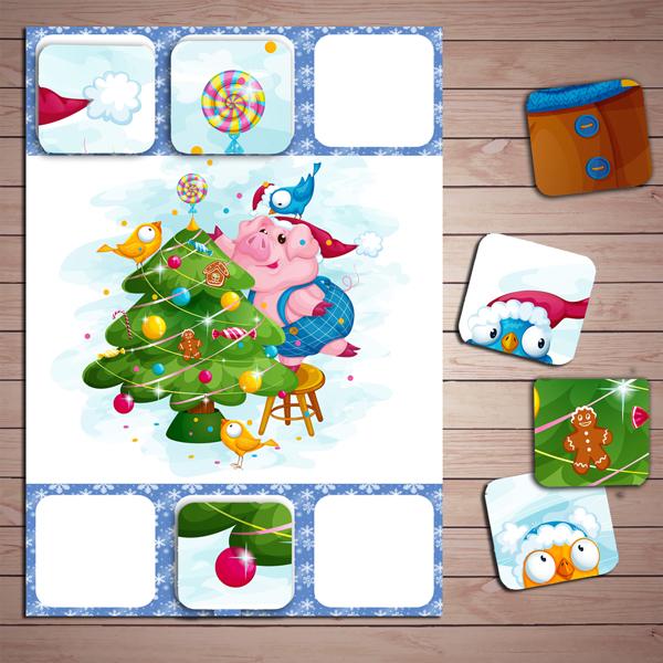 """Настольные игры распечатай и играй, лото """"Новогодние свинки"""" скачать для печати"""