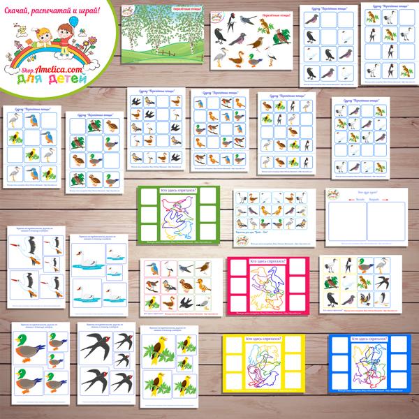"""Тематический комплект """"Перелётные птицы"""". Картинки перелётные птицы, развивающие игры про птиц скачать и распечатать"""