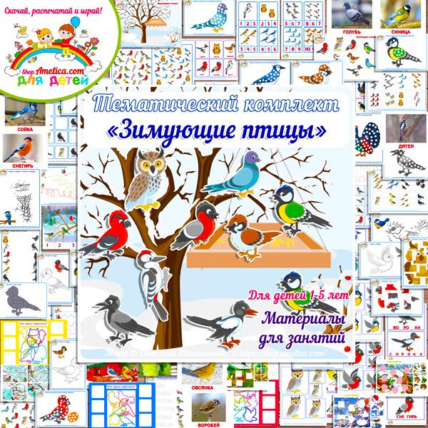 """Тематический комплект """"Зимующие птицы"""". Картинки зимующие птицы, развивающие игры про птиц скачать и распечатать"""