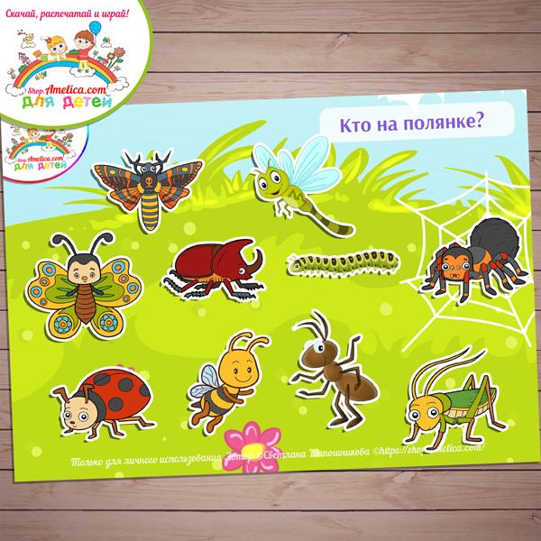 Игры на липучках! Дидактическая игра «Насекомые и паучок» скачать для распечатки