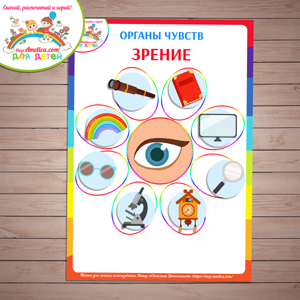 Дидактическая игра «Органы чувств» для детей шаблон скачать для печати
