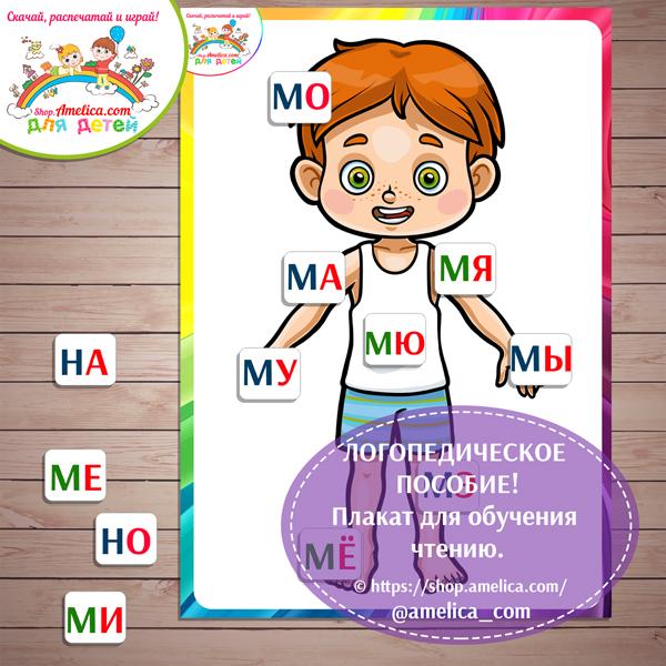 ЛОГОПЕДИЧЕСКОЕ ПОСОБИЕ! Плакат для обучения чтению скачать для печати