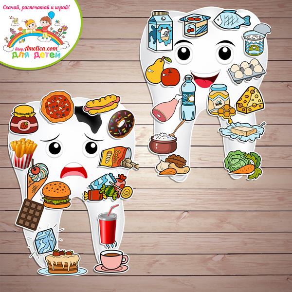 Дидактическая игра на липучках для детей 2–6 лет «Полезная и вредная еда для зубов» для дома или детского сада скачать для печати