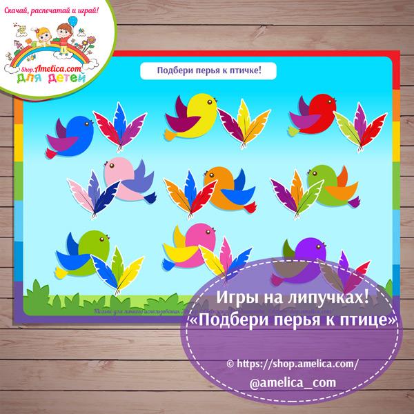 """Игры на липучках - распечатай и играй! Дидактическая игра """"Подбери перья к птице"""" скачать для детей"""