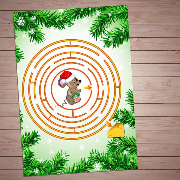 """Настольные игры распечатай и играй! Игра на развитие внимания """"Мышка в лабиринте"""" скачать для печати бесплатно"""