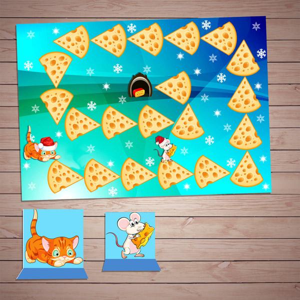Настольные игры распечатай и играй! Развивающая игра «Догонялки: кошки-мышки» скачать для печати