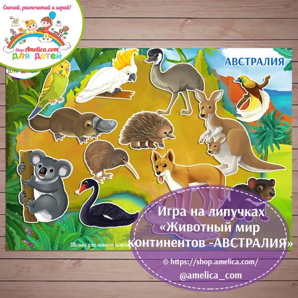 Игры на липучках для детей скачать. Дидактическая игра «Животный мир континентов - АВСТРАЛИЯ» распечатать