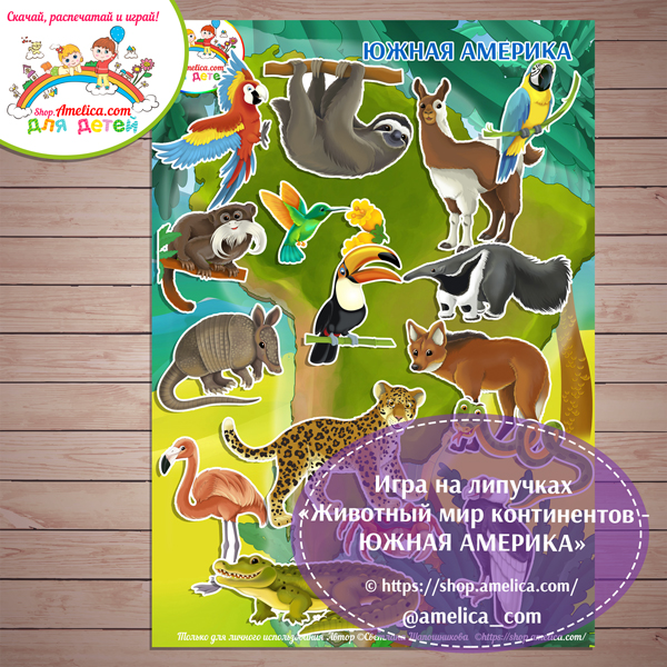 Игры на липучках для детей скачать. Дидактическая игра «Животный мир континентов - ЮЖНАЯ АМЕРИКА» распечатать