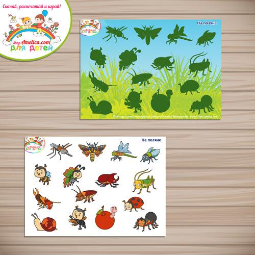 Дидактическая игра на липучках для детей «Лексическая тема - на поляне» распечатать