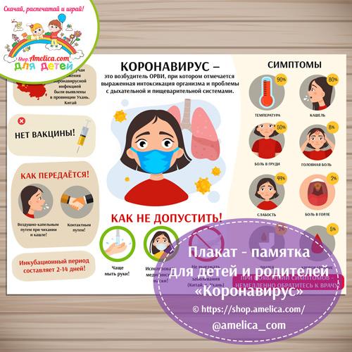 БЕСПЛАТНО - Памятка для информирования граждан, детей и родителей о коронавирусе скачать и распечатать. Плакат коронавирус для детского сада.
