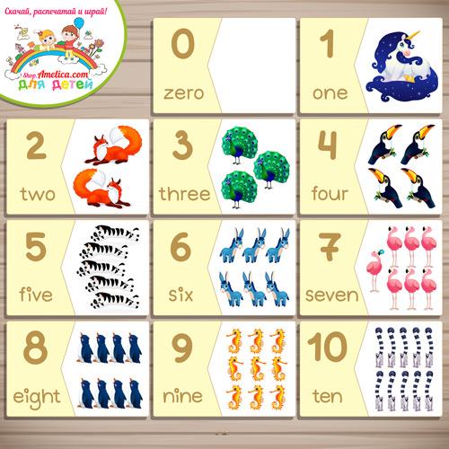 """Пазлы цифры английские для детей, набор """"Numbers from 0 to 10"""" скачать"""
