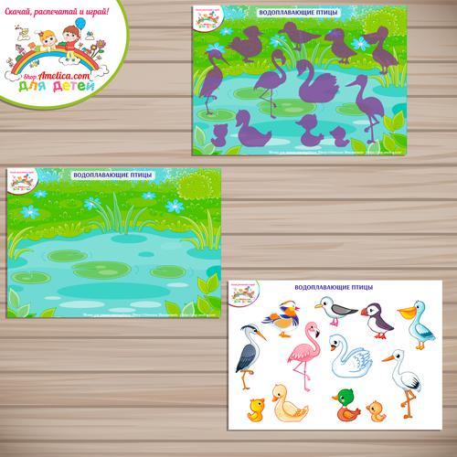 Дидактические игры для дошкольников. Шаблон игры на липучках для малышей «Водоплавающие птицы»