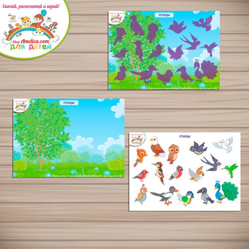 Дидактические игры для дошкольников. Шаблон игры на липучках для малышей «Птицы»