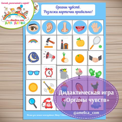 """Дидактическая игра - сортировка для детей """"Органы чувств человека"""" скачать для распечатки"""