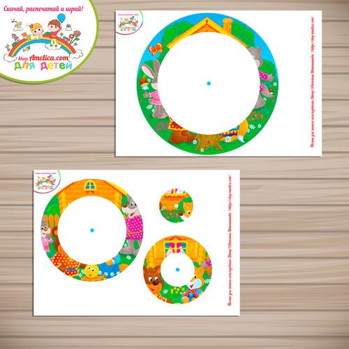 Вертушка-головоломка на развитие внимания «Сложи сказку - Колобок» скачать для распечатки