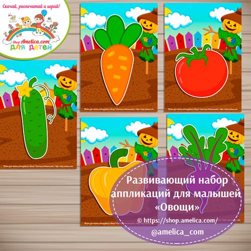 Развивающий набор аппликаций «Овощи».
