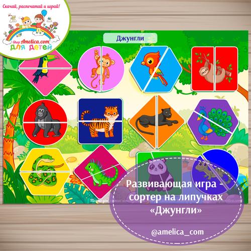 Игры на липучках, игра - сортер, игра сортер на липучках, игра сортер для детей, шаблоны игр на липучках, игры на липучках шаблоны, шаблоны игр скачать, картинки джунгли, картинки животные джунглей